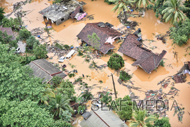 Aerial view of flooding in Sri Lanka, 28 May 2017. Photo: SLAF Media