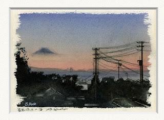 水彩画 千葉県鋸南町から見た富士山