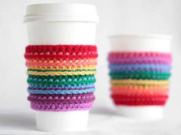 rainbow crocheted cup cozie