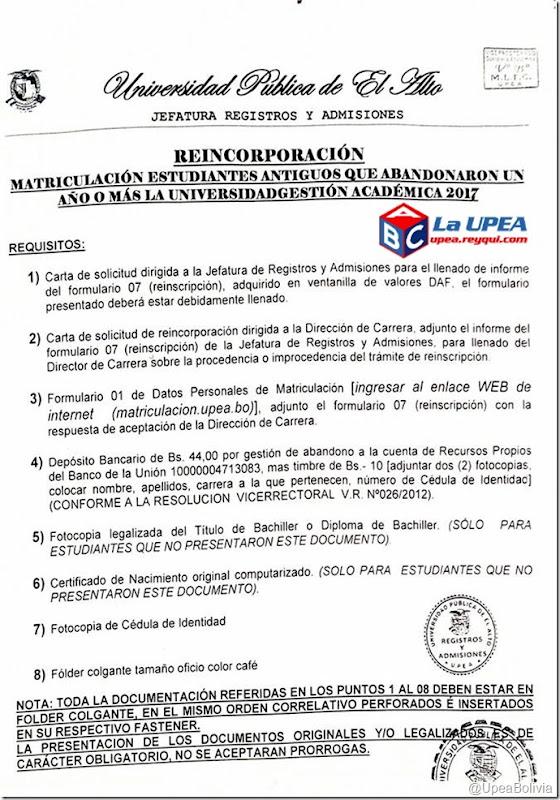 Matriculacipon UPEA 2017