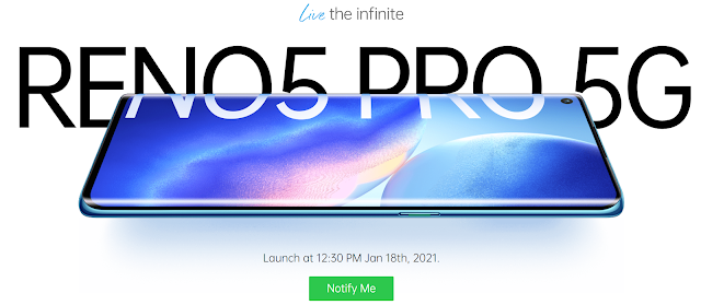 Confirm! OPPO Reno5 Pro 5G will be launched on January 18 in India