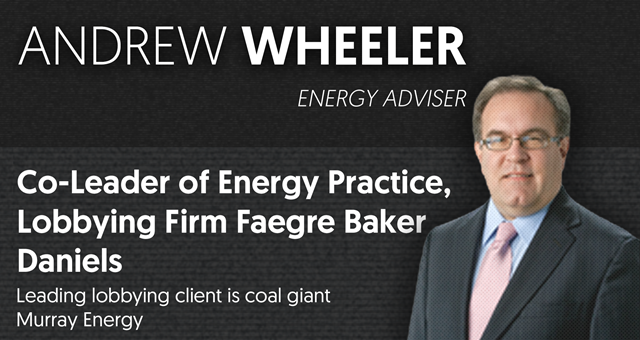 "Andrew Wheeler is the co-leader of the energy and natural resources practice at the firm Faegre Baker Daniels, and the Washington Post reported that his ""leading lobbying client"" there is coal giant Murray Energy. Wheeler's lobbying firm profile also lists him as Vice President of the ""Washington Coal Club."" Graphic: Media Matters"
