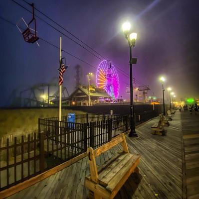 Boardwalk in fog