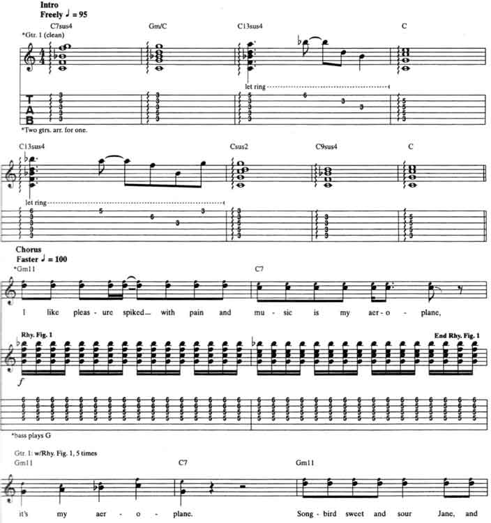 Red Hot Chili Peppers Aeroplane Guitar Tabs