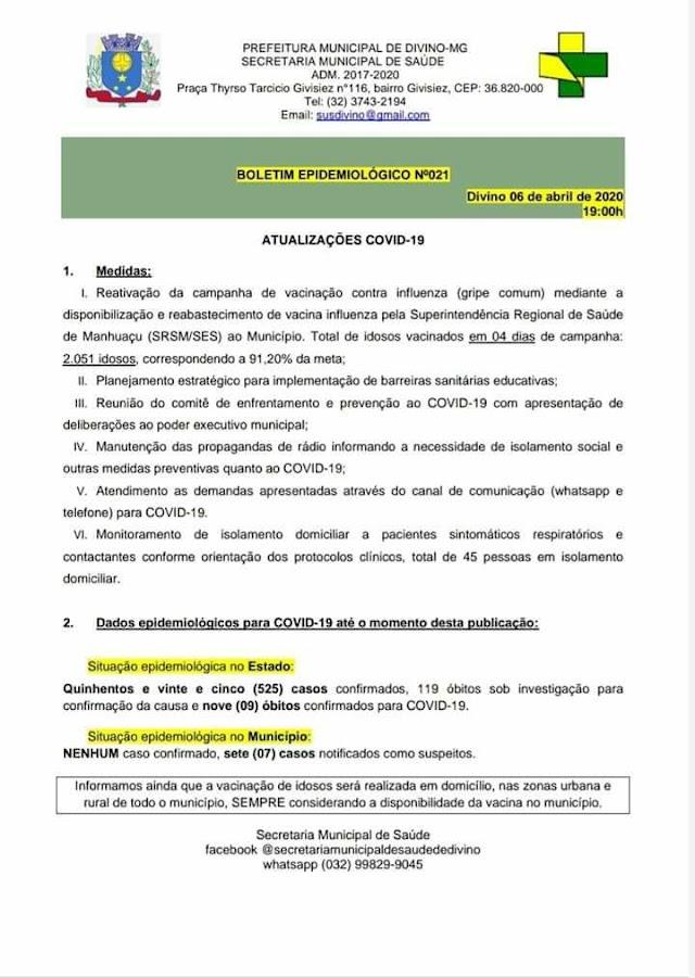 Em novo Boletim Epidemiológico Divino tem 07 casos suspeitos e nenhum confirmado até o momento