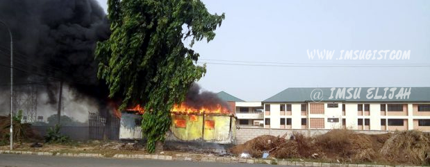 Imsu NDCC Hostel Threatened as Fire Guts Building Close to it (Photos)