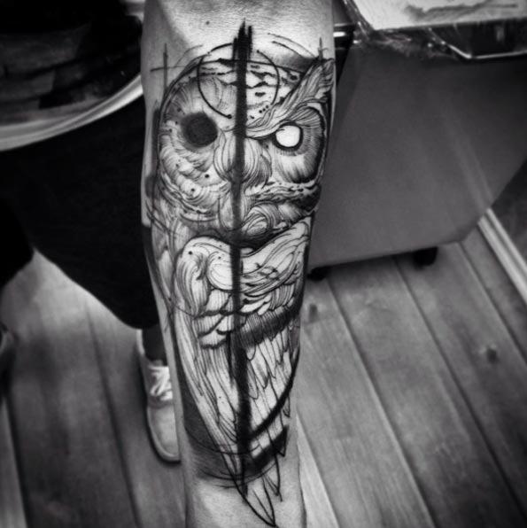 Este yin yang tatuagem de coruja