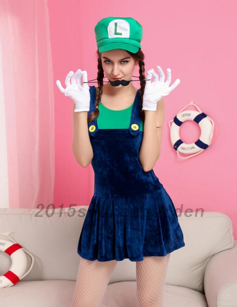 costume deguisement femme mario ensemble tenue mini robe casquette gants joli ebay. Black Bedroom Furniture Sets. Home Design Ideas