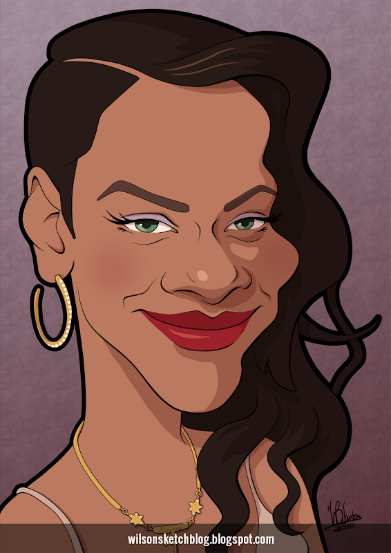 Cartoon caricature of Rihanna.