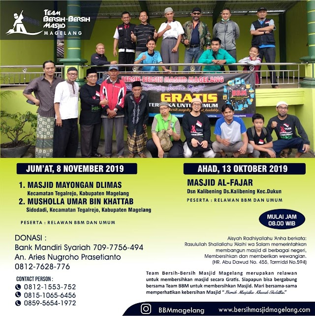 Bergabunglah dalam Kegiatan Bersih-Bersih Masjid Al Fajar, Kalibening Wetan, Kalibening, Dukun  Kabupaten Magelang