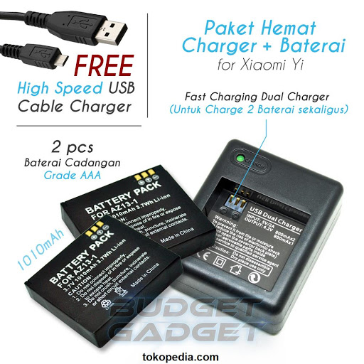 Paket 2pcs Battery/Baterai Xiaomi Yi + Dual Charge