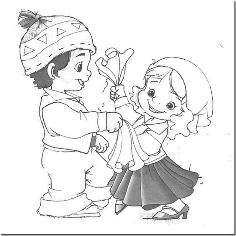 Colorear dibujos de huasos bailando cueca