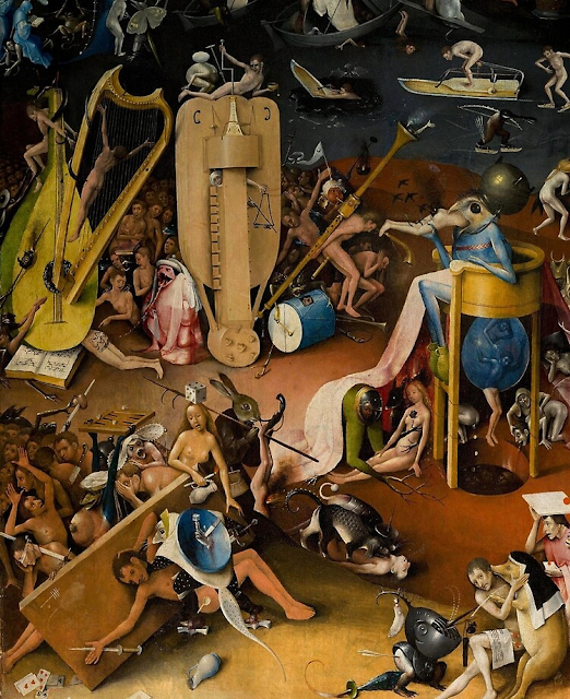 Detail from Bosch's The Garden of Earthly Delights; his demons, not sadists but methodical, destructive and inhuman, resemble psychopaths