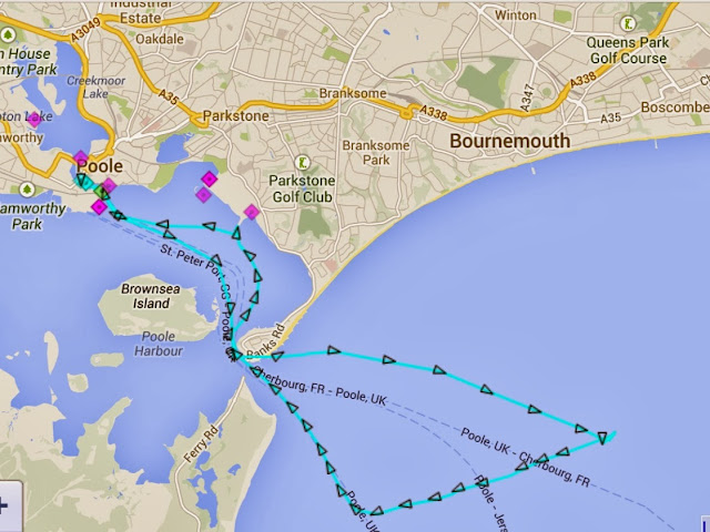 An AIS plot of the lifeboat's path - 9 November 2013.  Credit: Dave Riley, RNLI/Poole