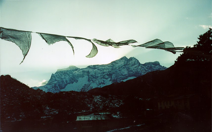 Prayer flags at dusk. From Studying Abroad: Setting Off A Series of Dominoes Of Profound Change
