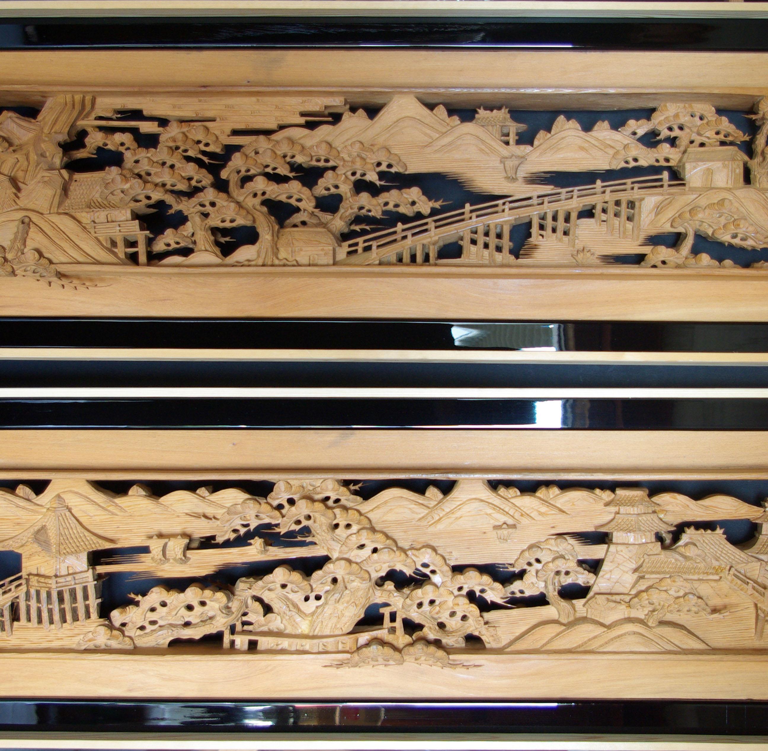 彫刻欄間の高原銘木店 > 0-99 > 0050 近江八景 6尺×1尺1寸×2.5寸 特上両面彫(杉)