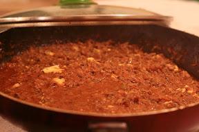 Italian Beef mince in a skillet