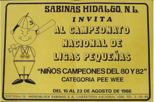 Publicidad del campeonato nacional de beisbol categoría menor de 1986