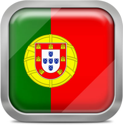Portugal square flag with metallic frame