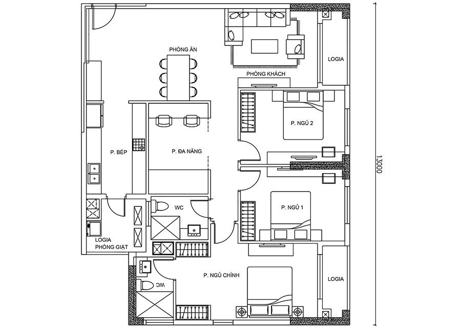 Thông số chi tiết căn hộ 3 phòng ngủ DT: 123,56m2
