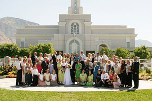 Photo of the entire wedding party on August 20, 2005 at the Mount Timpanogos Temple in American Fork, UT. Photo courtesy of Brian Brown.