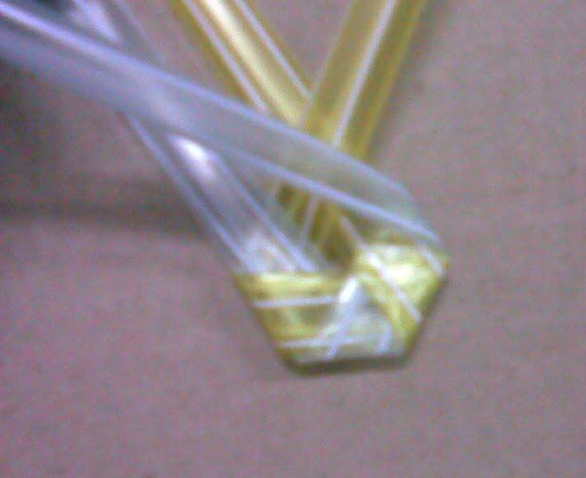 teach kid reuse,chid craft,fold plastic,reused plastic strip