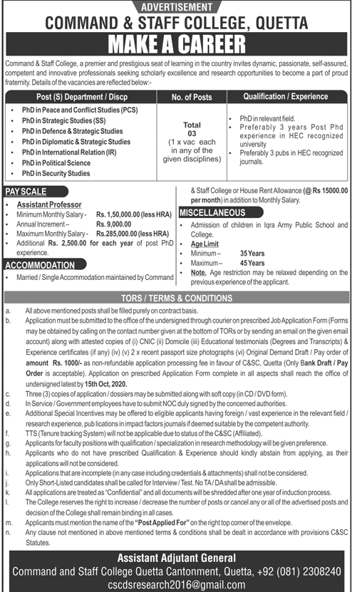 Command & Staff College Jobs September 2020