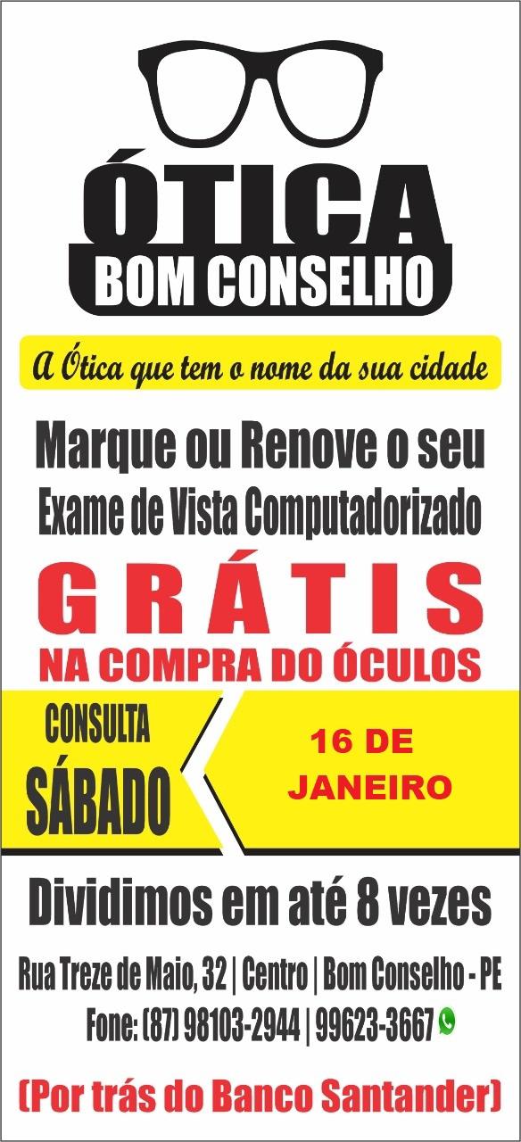 TEM CONSULTA DE VISTA DE GRAÇA NO PRÓXIMO DIA 16/01