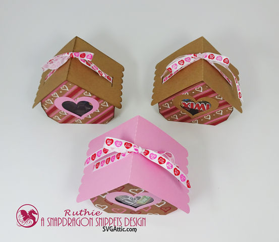 Cottage ribbon-tied 3d gift box - SnapDragon Snippets, San Valentin. Ruthie Lopez 3