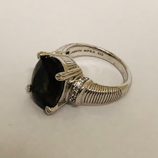 Judith Ripka Sterling Silver and Smoky Quartz Cocktail Ring