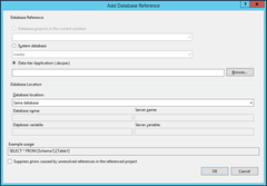 Screen Shoot of setting Database as a Composite Referenace