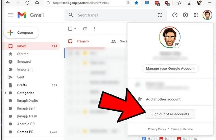 تسجيل الخروج من Google تسجيل الخروج من جميع الحسابات