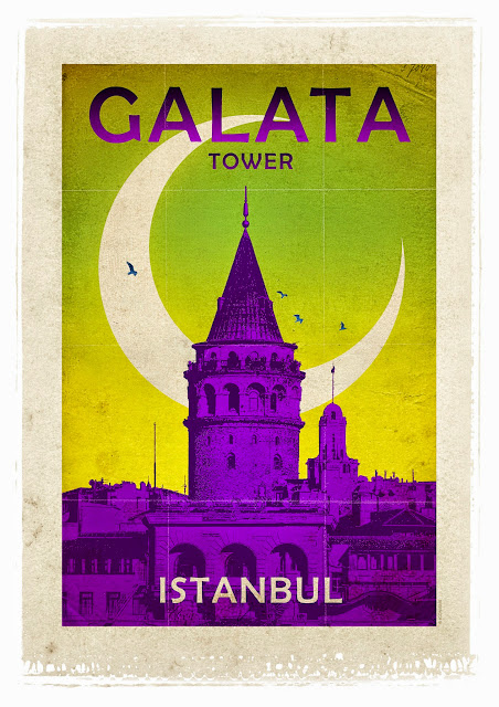 the galata tower retro poster