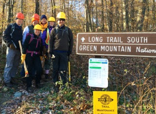 Eight trail workers braved a chilly start from Midd Gap.