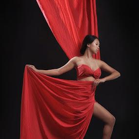 Women in Red by Yanuar Nurdiyanto - People Fine Art ( studio, red, girl, nikon, women, lady )