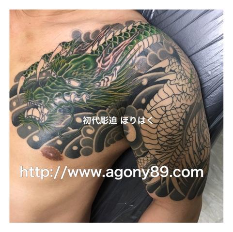 刺青 龍、龍 刺青、昇り龍 刺青、龍、竜、昇り龍、緑色の龍、筋彫り、和彫り、額彫り、雲、風、渦、水泡、ひかえ五分袖額彫り、たいこ、かいな、胸、腕、桜、家紋、丸に酢漿草紋、刺青、タトゥー、刺青デザイン、タトゥーデザイン、tattoo、tattoo画像、刺青画像、タトゥー画像、刺青デザイン画像、タトゥーデザイン画像、刺青 千葉、タトゥー 千葉、刺青 千葉県、タトゥー 千葉県、刺青 柏、タトゥー 柏、刺青 松戸、タトゥー 松戸、刺青 五香、タトゥー 五香、タトゥースタジオ 千葉、タトゥー スタジオ 千葉県、tattoo studio、タトゥースタジオ、 アゴニー アンド エクスタシー、初代彫迫、ほりはく、彫迫ブログ、ほりはく日記、刺青 彫迫、彫師、刺青師、http://horihaku.blogspot.com