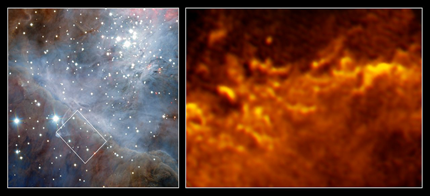 fronteira turbulenta da Nebulosa de Órion
