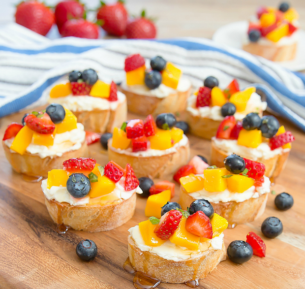 photo of Lemon Fruit Bruschetta on a wooden platter