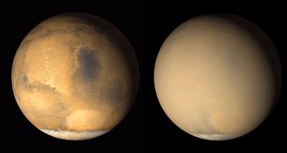 tempestades de areia em Marte