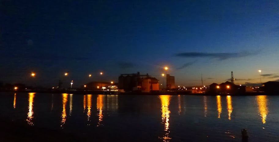 The early morning lights of King's Lynn