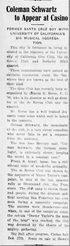 Colman Schwartz Monologist Santa Cruz Sentinel 12_15_1907 pg 10