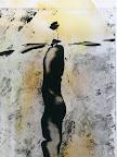"""Mensch"", Glas Schwarzlot, Holz bemalt 2005/09"