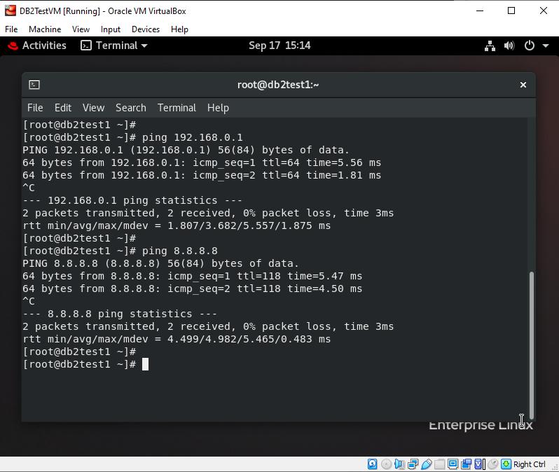 RHEL 8.2 ping response