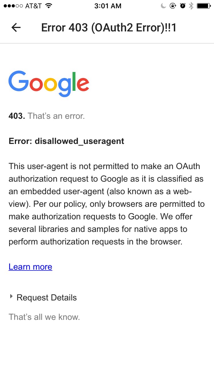 How do I get passed Google authentication error to pair Philips Hue