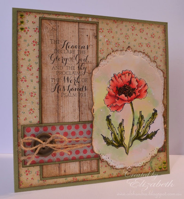 Elizabeth Whisson, Flourishes, Poppy Patch, Our Daily Bread Designs, Scripture Collection 9, handmade card, copic, Spellbinders Nestabilities Gold Labels Four