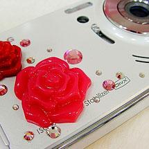 Câmera decorada com rosas