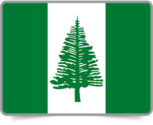 Norfolk Island framed flag icons with box shadow
