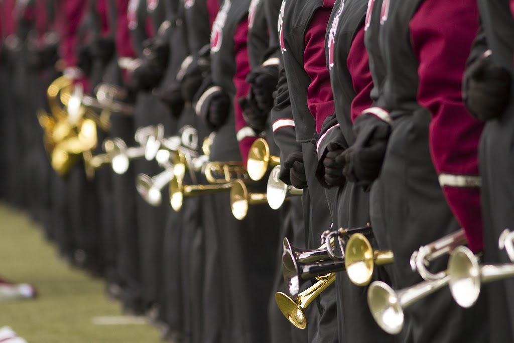 The University of Montana marching band stands ready to escort the hometown Griz onto the field for Saturday's contest against the Idaho State Bengals.  Washington-Grizzly Stadium in Missoula, Mont., October 27th, 2012.
