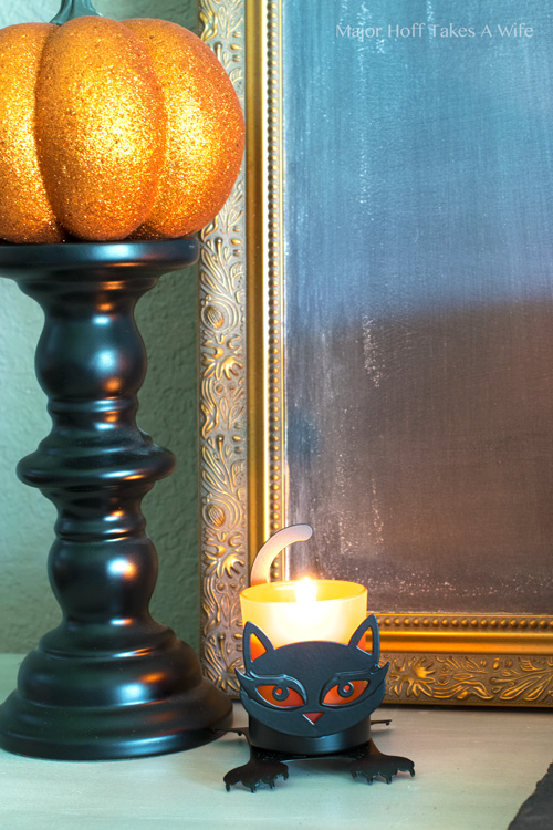 Black cat candle holder