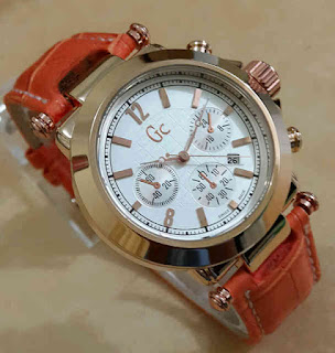 Jual jam tangan Gc kulit tgl orange
